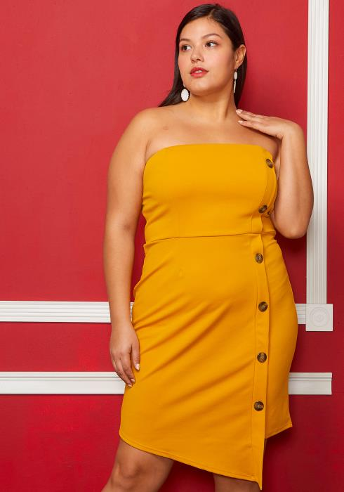 Asoph Plus Size Asymmetrical Butttoned Strapless Dress