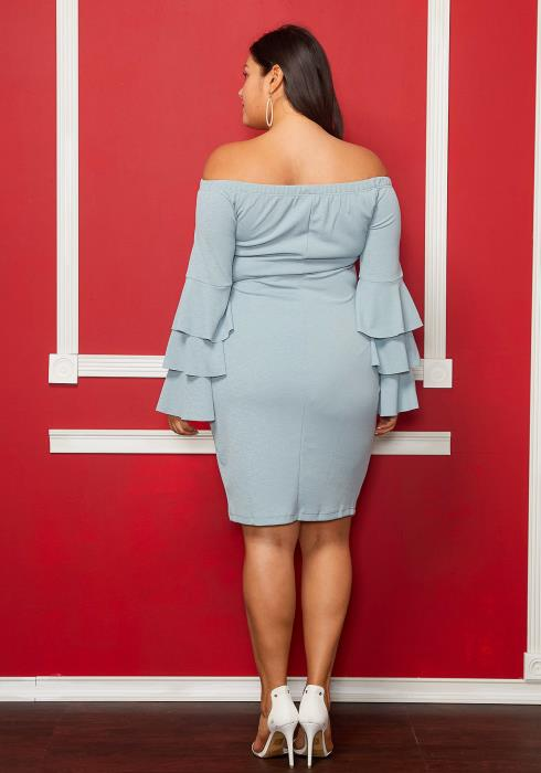 Asoph Plus Size Off The Shoulder Bell Layered Sleeve Dress