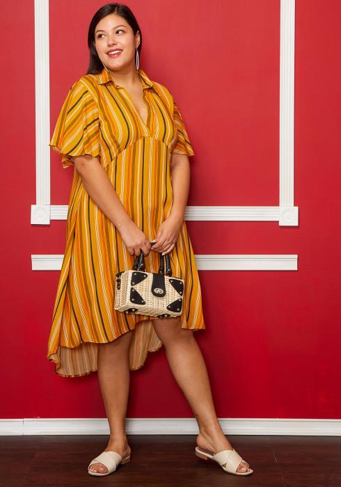 Asoph Plus Size Short Sleeve Multi Stripe Shirt Dress