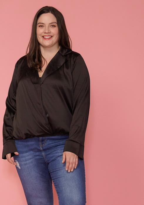 Asoph Plus Size Satin Wrap Front Blouse