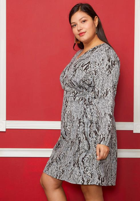 Asoph Plus Size Snake Print Side Tie Dress