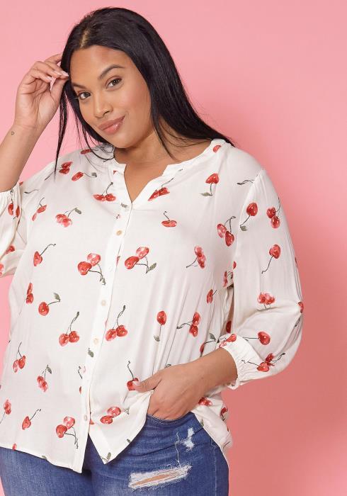 Asoph Plus Size Cherry Blossom Blouse