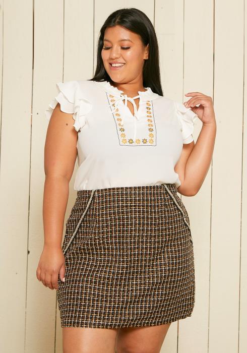 Asoph Plus Size Tweed Skirt