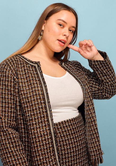 Asoph Plus Size Tweed Jacket