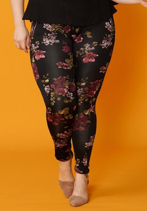 Asoph Plus Size Floral Stretchy Leggings