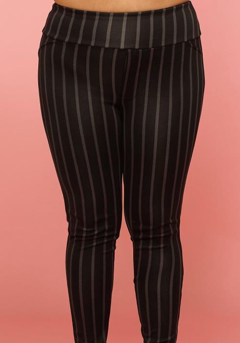 Asoph Plus Size Stripe High Waist Pants