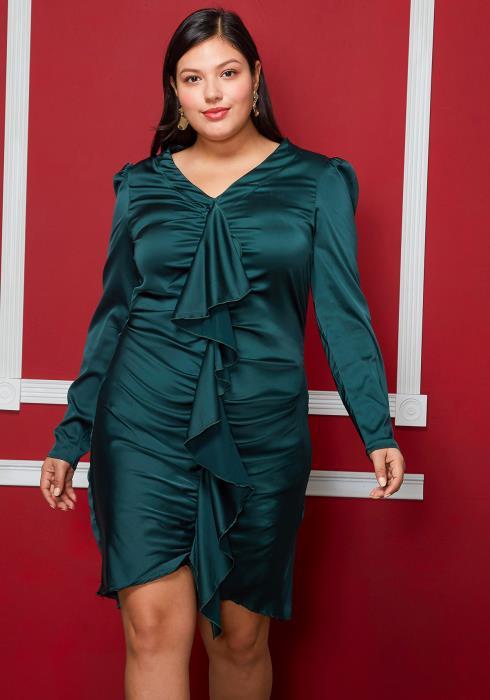 Asoph Plus Size Puff Shoulder Wrinkle Dress