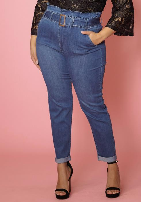 Asoph Plus Size High Waisted Skinny Jean With Belt