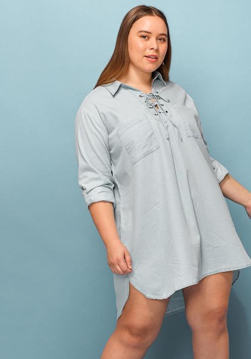 Asoph Plus Size Lace Tie Casual Shirt Dress