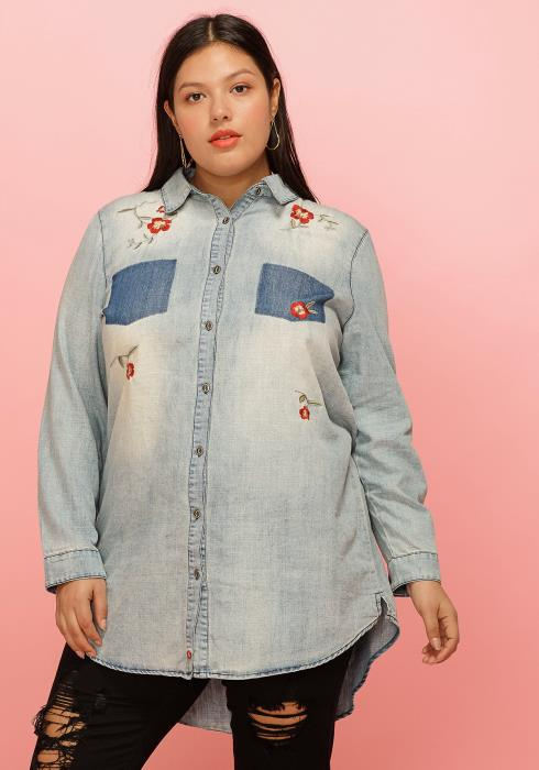 Asoph Plus Size Two Pocket Point Flower Embossed Denim Button Shirt