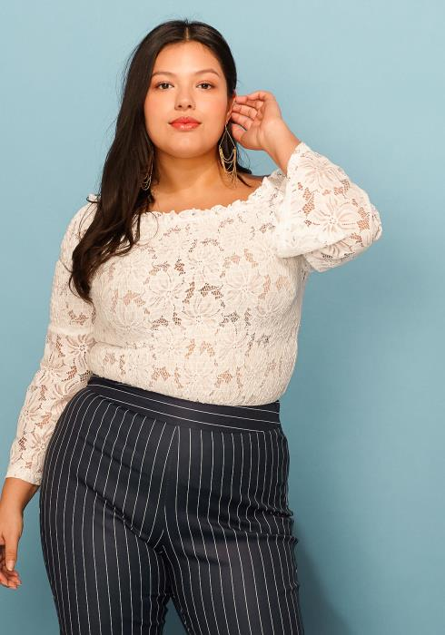Asoph Plus Size Lace Off Shoulder Bell Sleeve Top