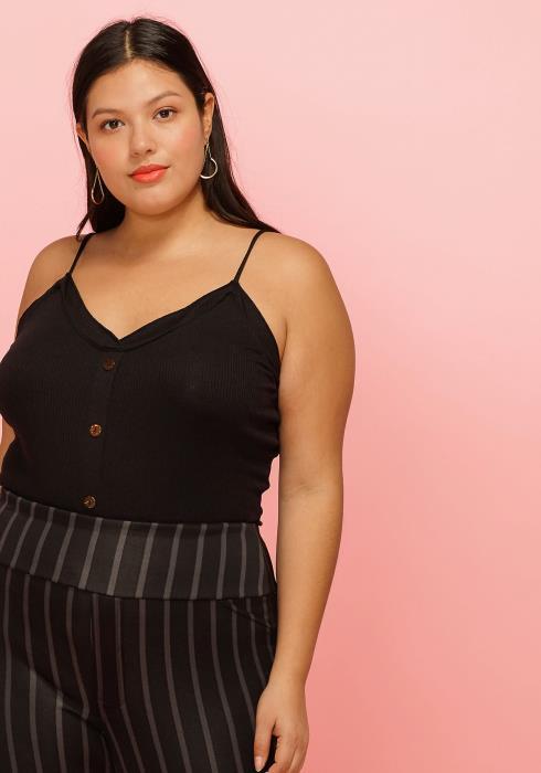 Asoph Plus Size Button Front Cami