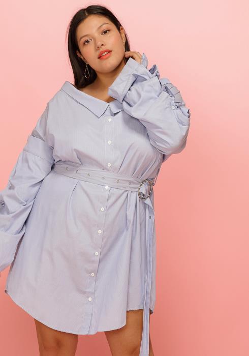 Asoph Plus Size Button Up Tie Waist Shirt Dress