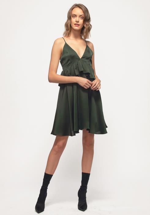 Nurode Deep V-neck Ruffle Baby Doll Dress