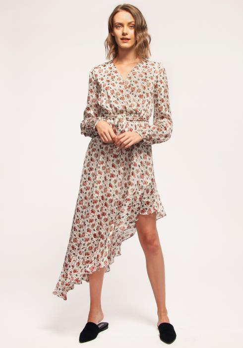 Nurode Floral Asymmetrical Ruffle Hem Wrap Dress