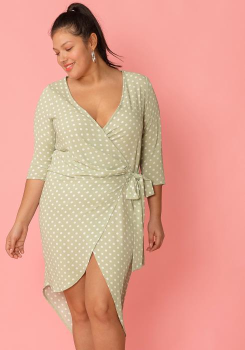Asoph Plus Size Polka Dot Wrap Dress