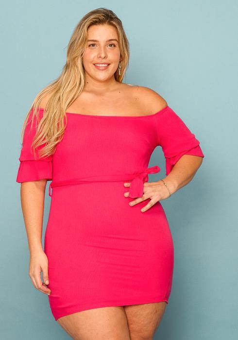 Asoph Plus Size Off Shoulder Side Tie Mini Dress