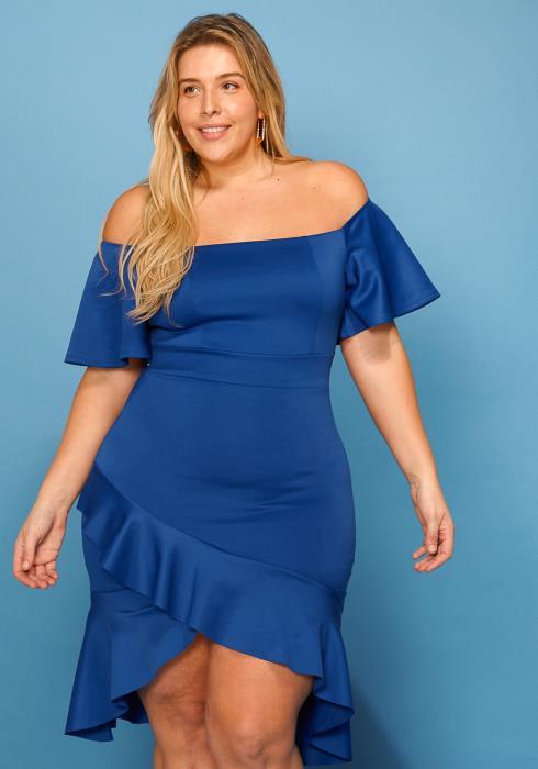 Asoph Plus Size Off Shoulder Flare Midi Dress