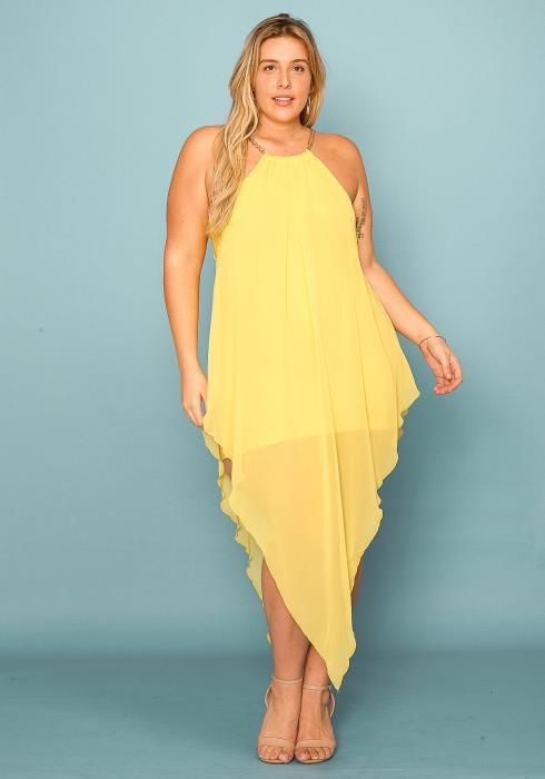Asoph Plus Size Chain Halter Neck Chiffon Dress
