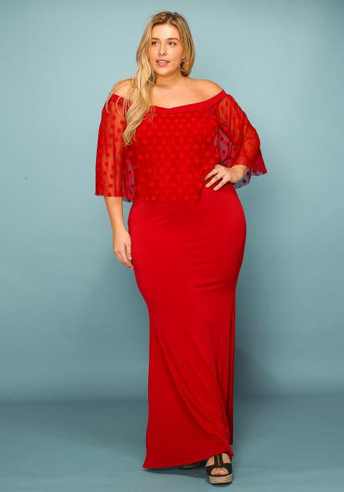 Asoph Plus Size Sheer Polka Dot Maxi Dress