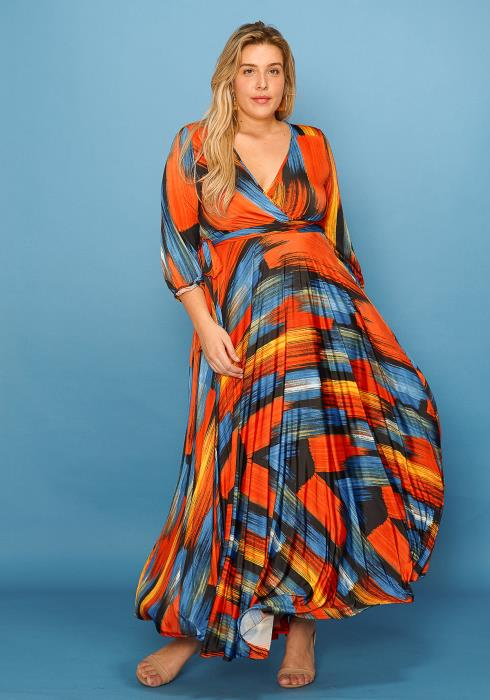 Asoph Plus Size Abstract Print Wrap Maxi Dress