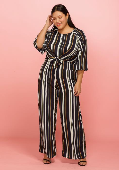 Asoph Plus Size Tie Front Multi Stripe Wide Leg Jumpsuit