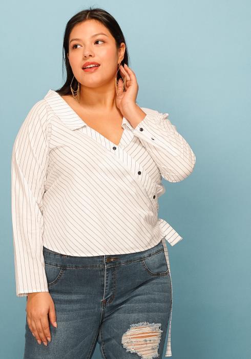 Asoph Plus Size Striped Wrap Front Shirt