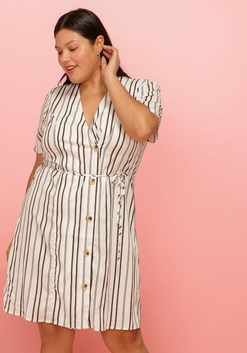 Asoph Plus Size Slant Button Waist Tie Short Sleeve Dress