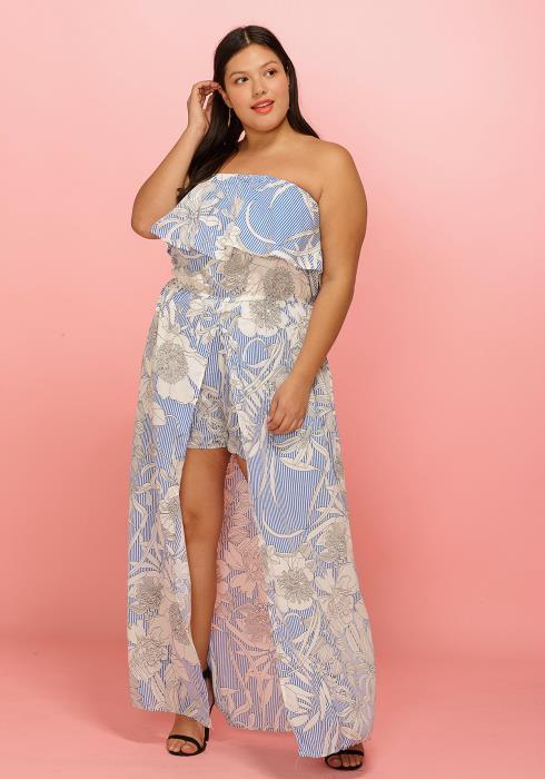 Asoph Plus Size Tube Top Cape Skirt Printed Romper