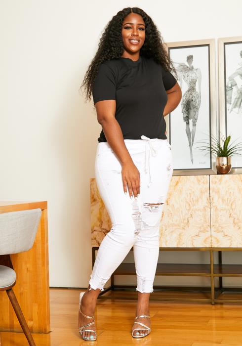 Asoph Plus Size Frayed Hem Jean