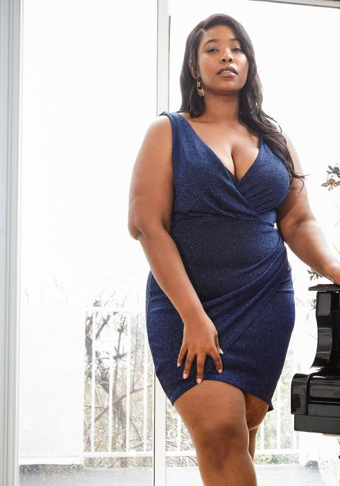 Asoph Plus Size Sparkling Sleeveless Wrap Party Dress