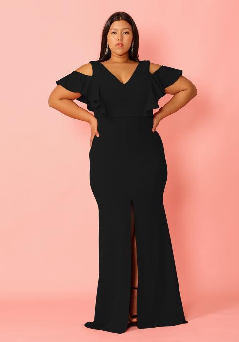 Asoph Plus Size Cold Shoulder Center Slit Maxi Evening Dress