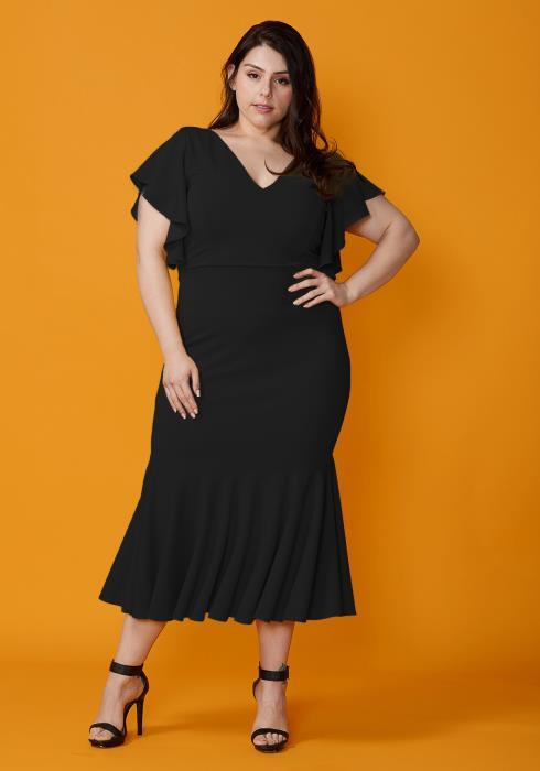 Asoph Plus Size Ruffle Hem Mermaid Dress