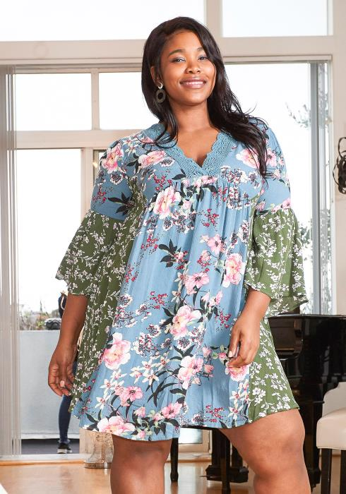 Asoph Plus Size Floral Summer Tunic Dress