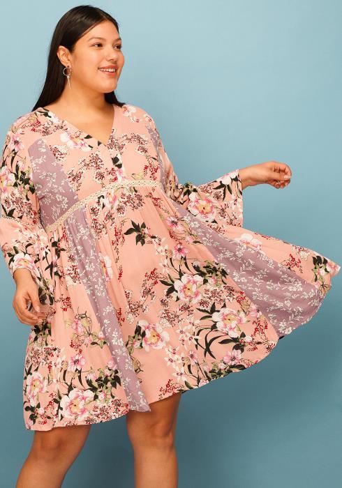 Asoph Plus Size Lace Trim Floral Flared Boho Dress