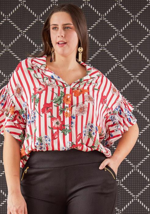 Asoph Plus Size Mixed Print Button Up Blouse
