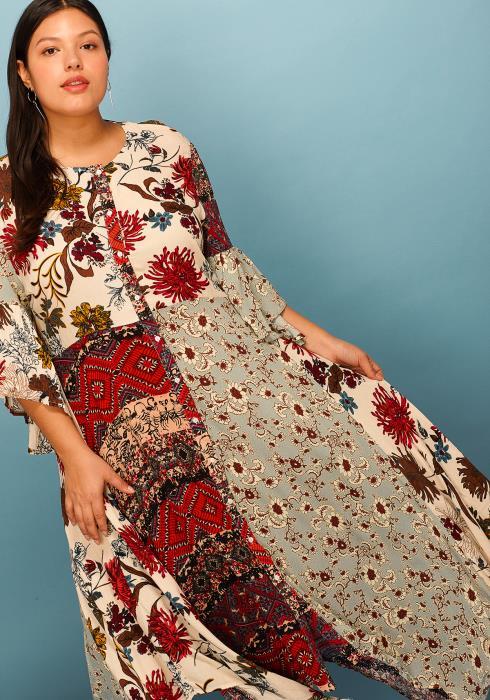 Asoph Plus Size Print Block Button Up Asymmetrical Hem Dress