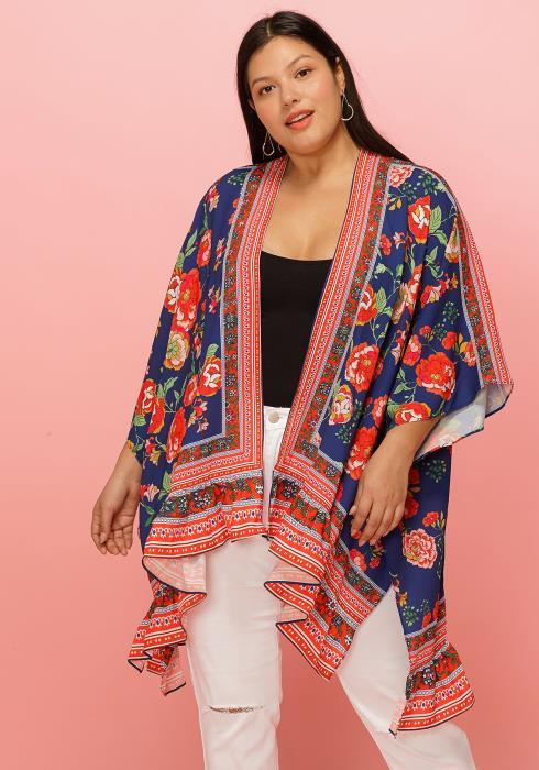 Asoph Plus Size Floral Print Ethnic Print Cardigan