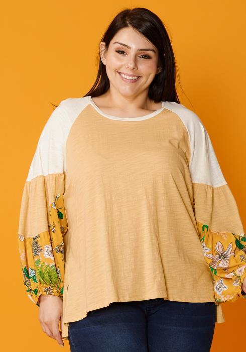 Asoph Plus Size Floral Patched Raglan Blouse Top