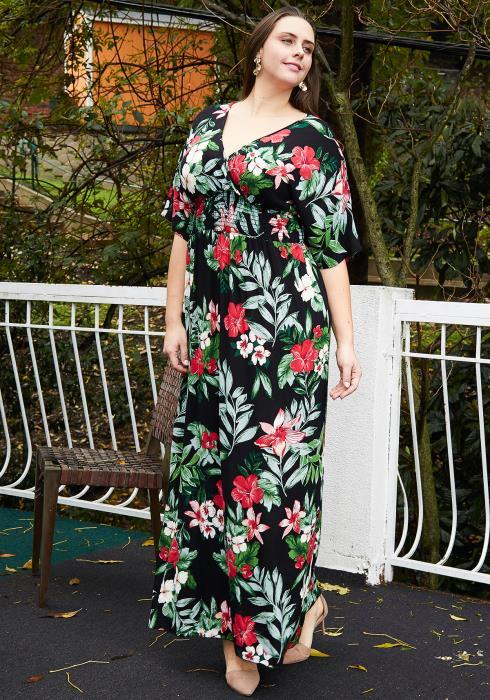 Asoph Plus Size Floral Empire Waist Maxi Dress With Slit