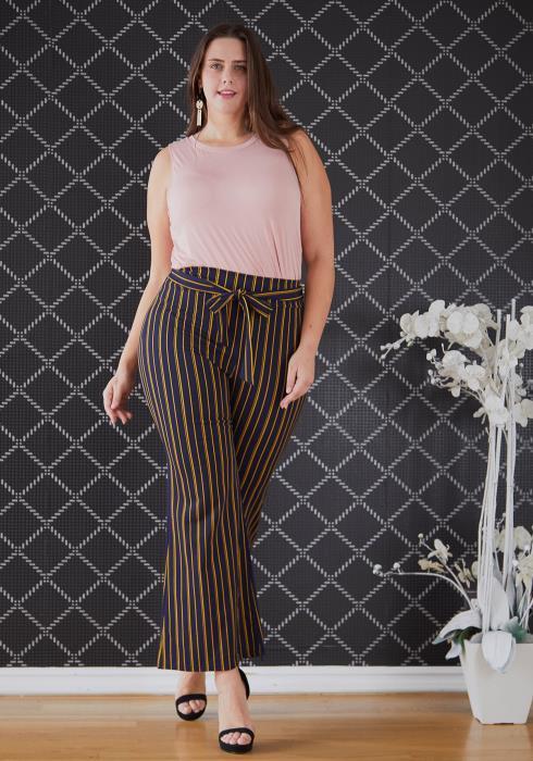 Asoph Plus Size Tie Waist Stripe Flared Pants