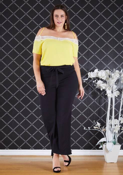 Asoph Plus Size Tie Waist Solid Color Flared Pants