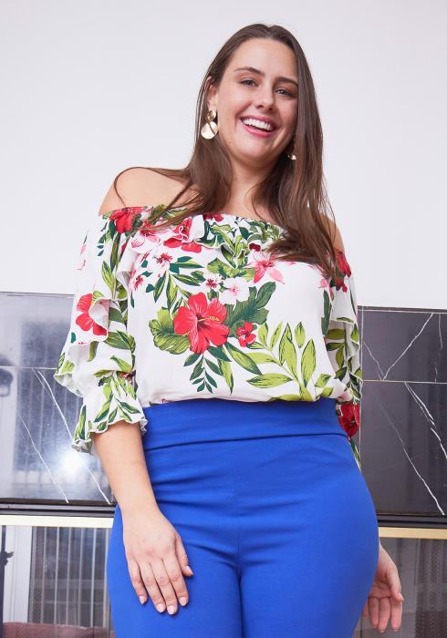 Asoph Plus Size Off Shoulder Floral Print Ruffle Sleeve Blouse