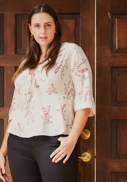 Asoph Plus Size Floral Blouse With Front Tie
