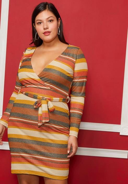 Asoph Plus Size V-Neck Multi Colored Tie Front Dress
