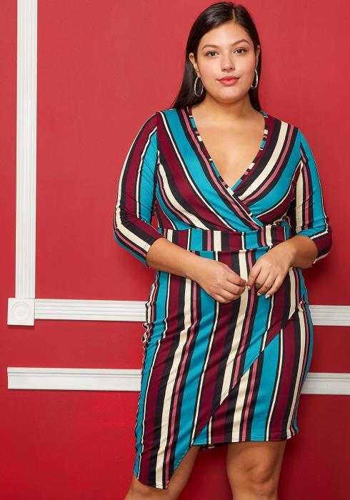 Asoph Plus Size Half Sleeved V-Neck Multi Color Dress