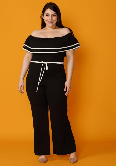 Asoph Plus Size Off Shoulder Layered Ruffle Flare Hem Jumpsuit