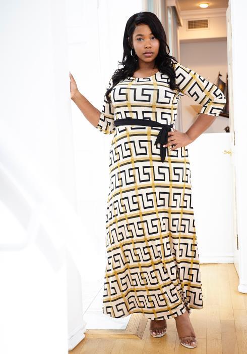 Asoph Plus Size Geo Print Tie Waist Maxi Dress