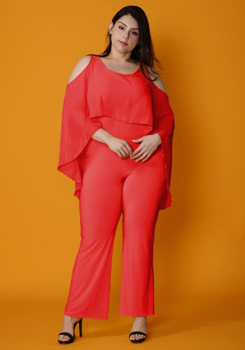 Asoph Plus Size Cold Shoulder Cape Style Jumpsuit