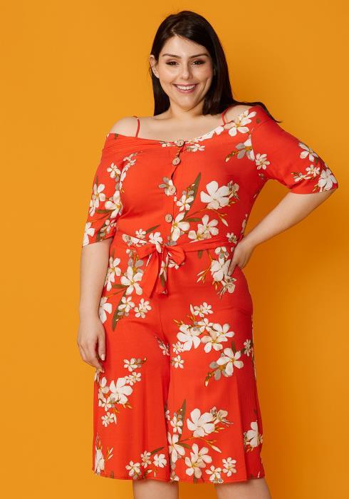 Asoph Plus Size Cold Shoulder Floral Print Button Up Romper